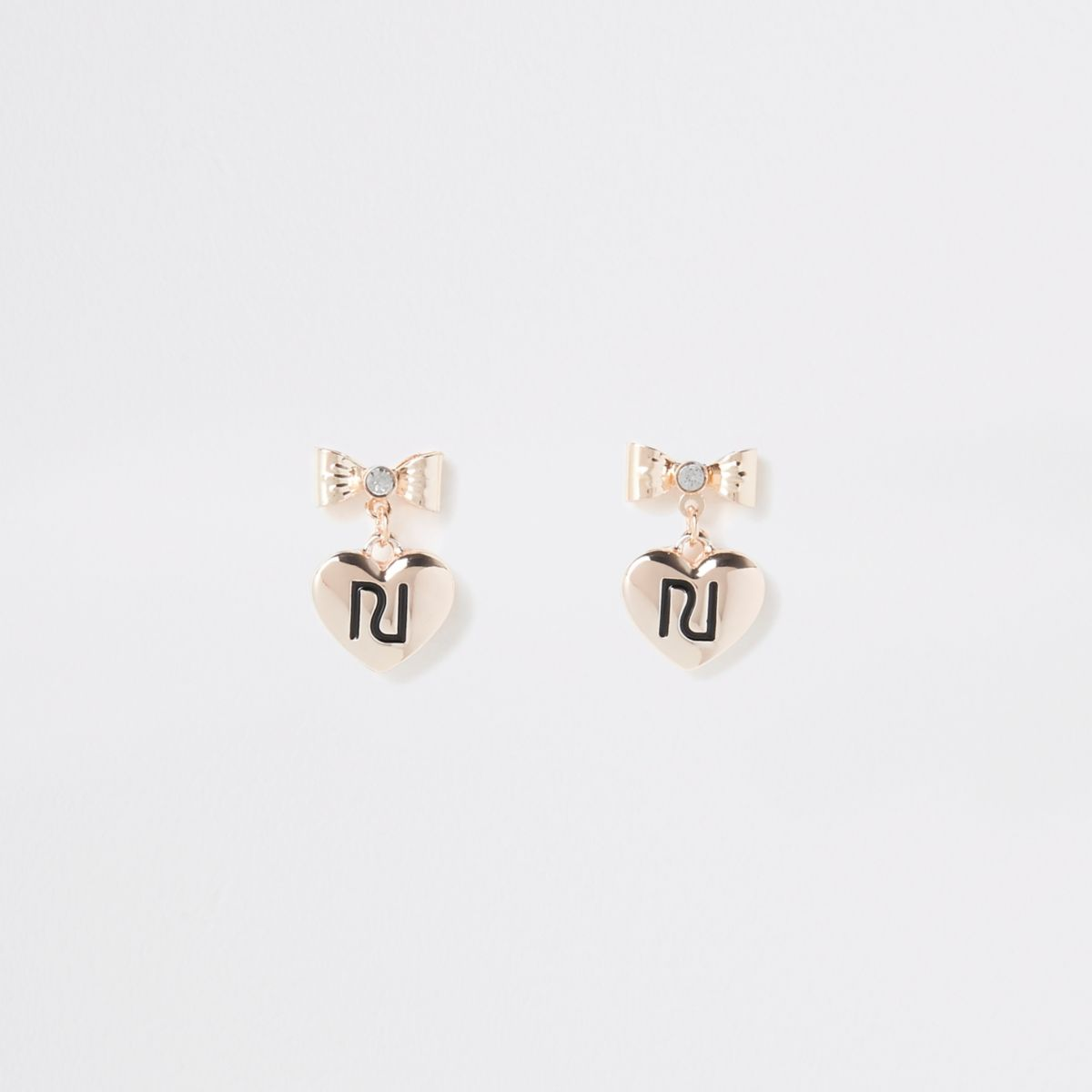 Girls gold color RI bow stud earrings