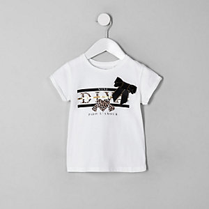 Mini - Wit T-shirt met 'Diva'-print en strik voor meisjes