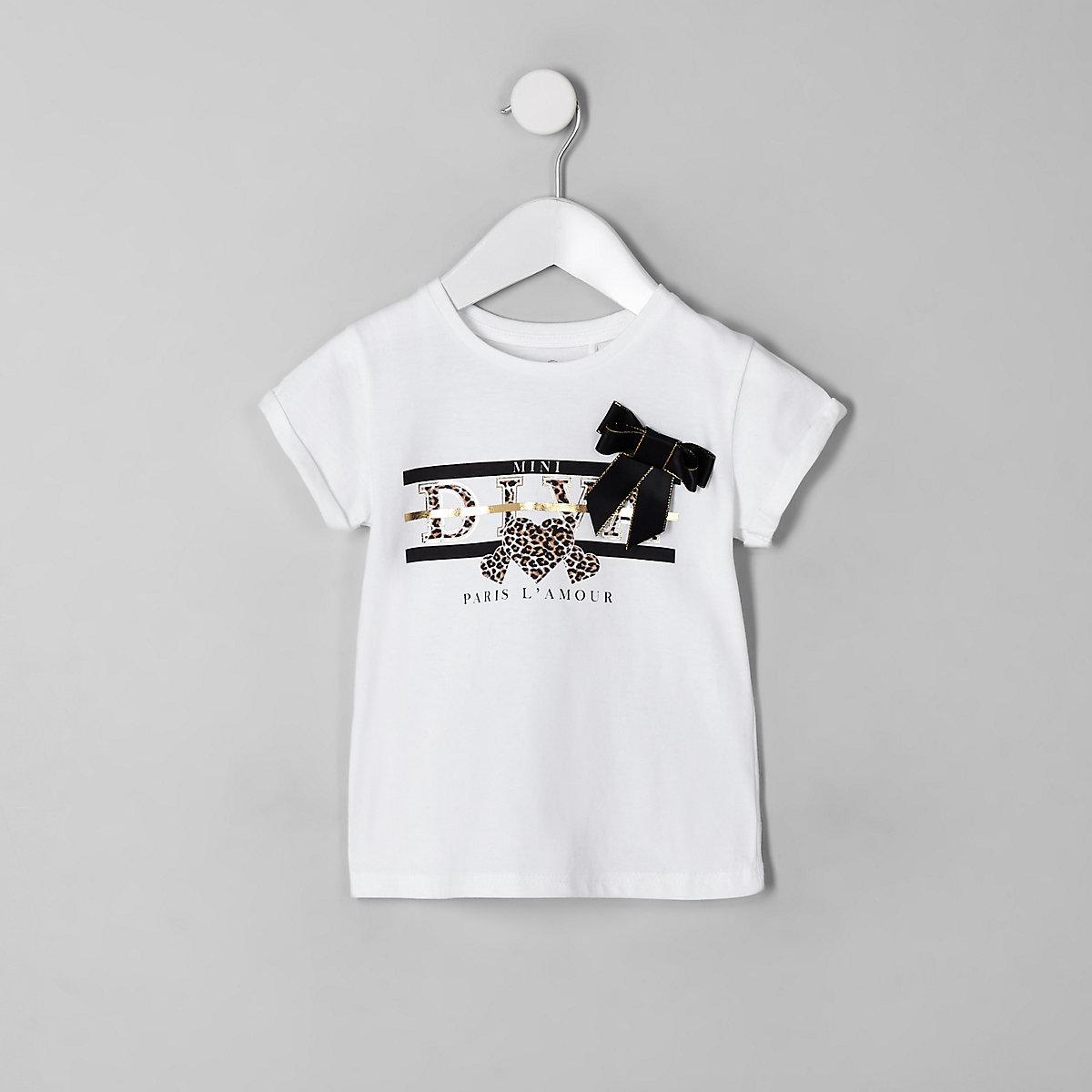 Mini girls white 'Diva' bow T-shirt