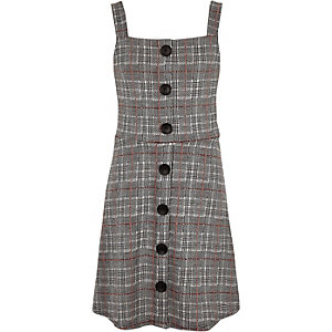 Girls grey check pinafore dress