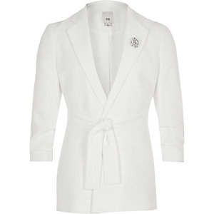 Girls white tie waist blazer