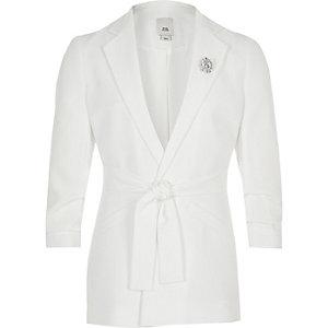 Witte blazer met strikceintuur voor meisjes