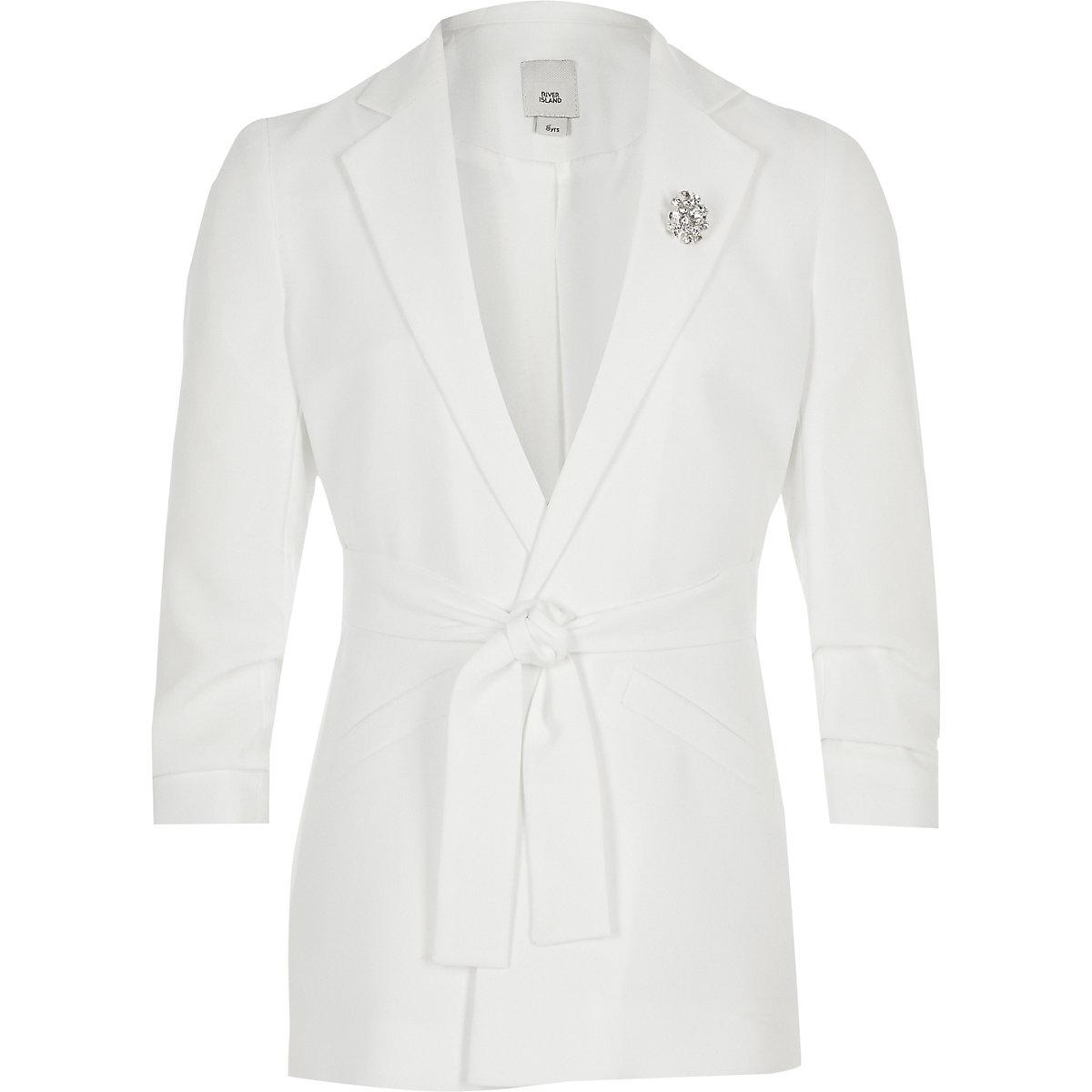 Girls white tie waist blazer