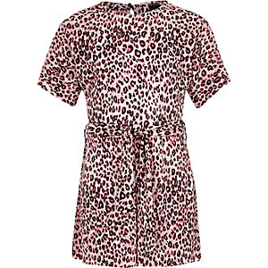 Girls pink leopard print plisse playsuit