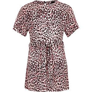 Pinker Overall mit Leoparden-Print