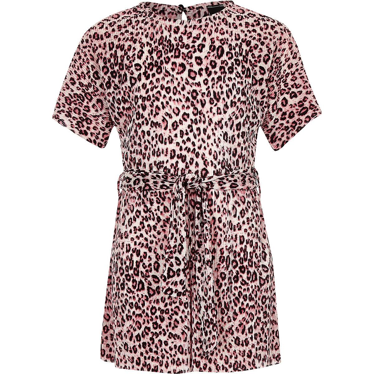 Girls pink leopard print plisse playsuit
