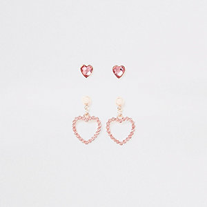 Girls pink heart diamante earrings multipack