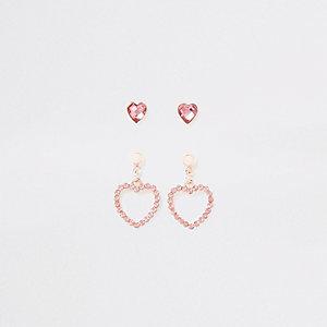 Lot de boucles d'oreilles roses à cœurs avec strass pour fille