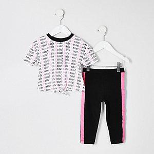 Mini - Witte T-shirtoutfit met neonprint voor meisjes