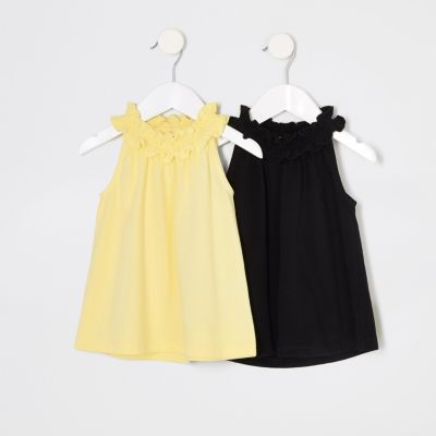 Mini Girls Yellow Trapeze Top Multipack by River Island