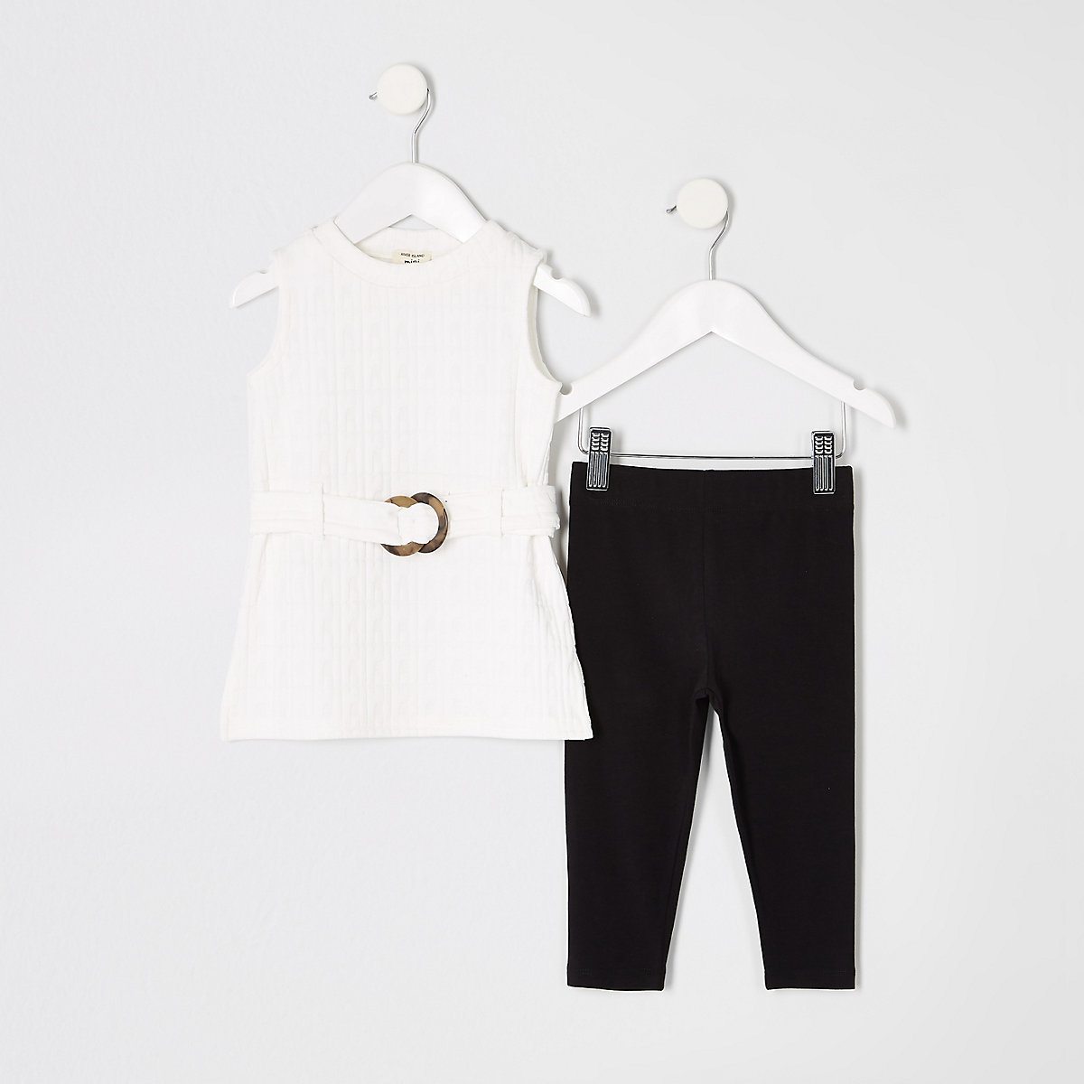 Mini girls white RI belted top outfit