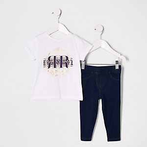 Mini girls white foil print T-shirt outfit