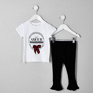 Ensemble avec t-shirt blanc à inscription « Amour » pour mini fille