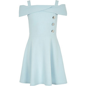Girls blue scuba bardot dress