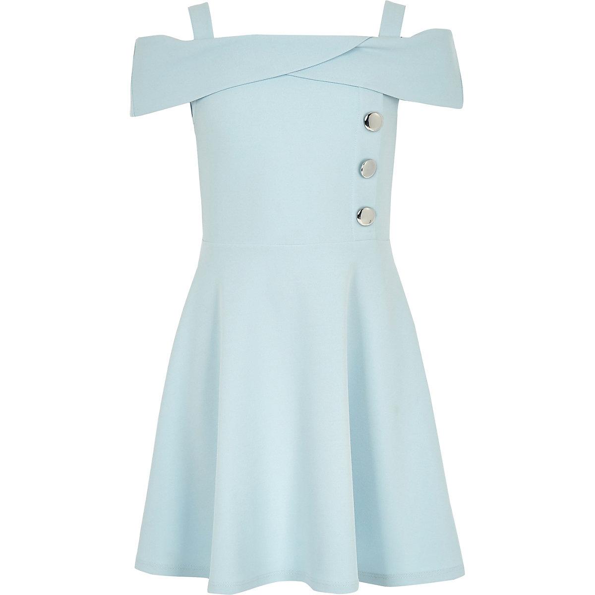 Girls blue scuba bardot dress
