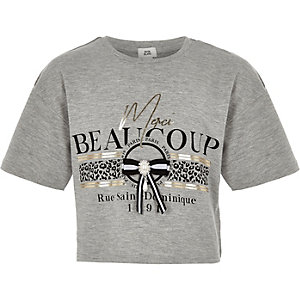 "Graues T-Shirt ""Merci beaucoup"""