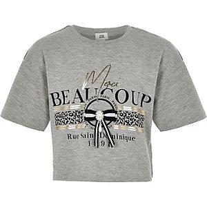 T-shirt «Merci beaucoup» gris à nœud pour fille
