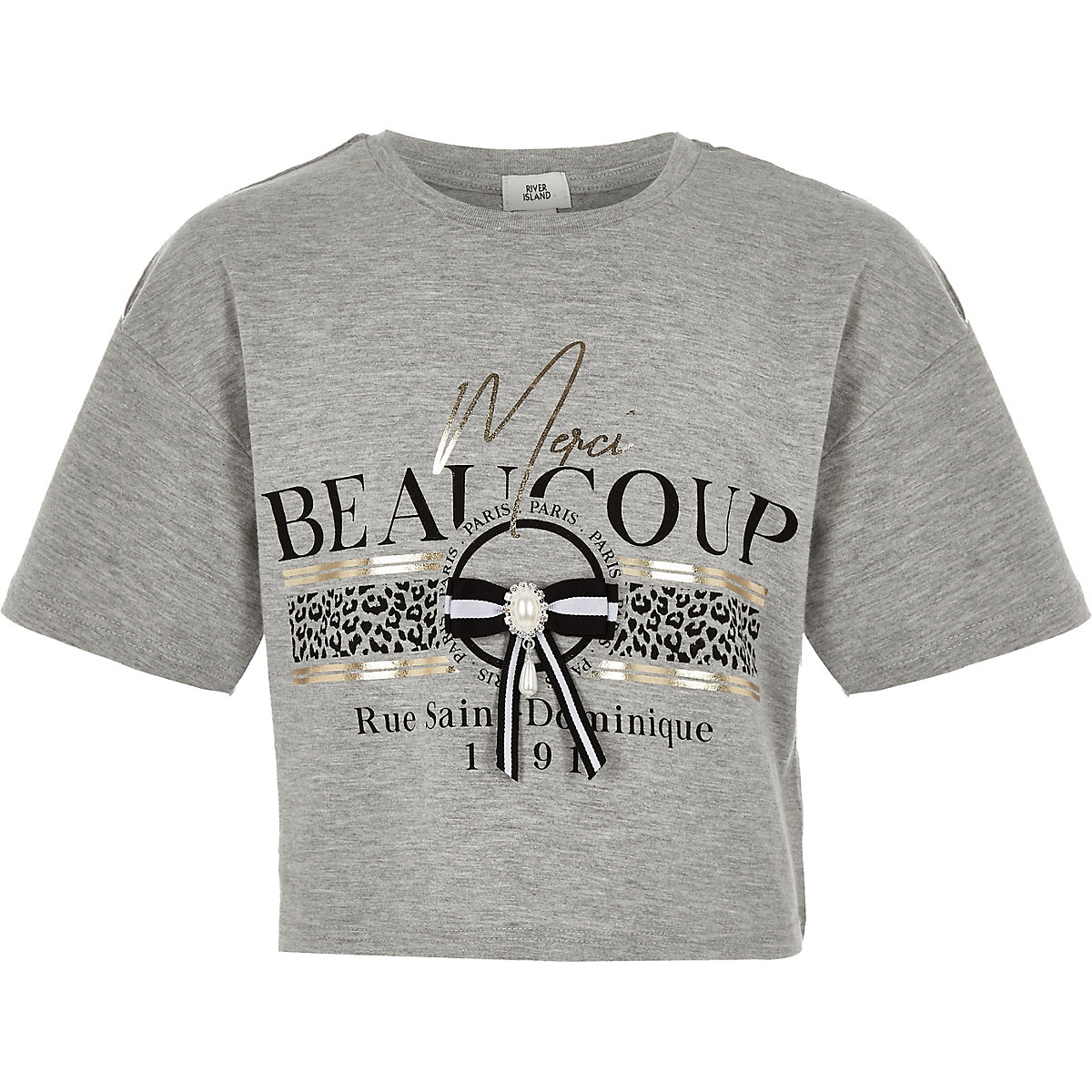 Girls grey 'Merci beaucoup' bow T-shirt
