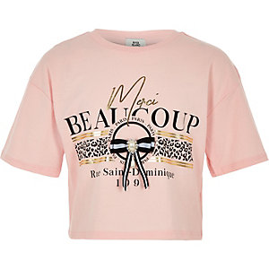 T-shirt «Merci beaucoup» rose à nœud pour fille