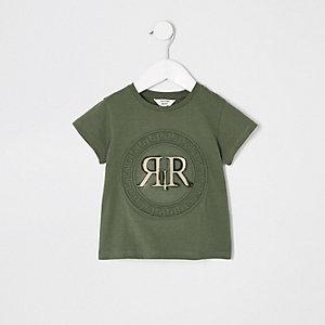 Mini girls green RI embossed T-shirt