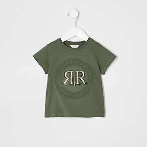 T-shirt vert avec logo RI en relief mini fille