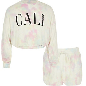 Roze tie-dye sweatshirtoutfit voor meisjes