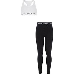 Outfit met witte racer crop top en legging voor meisjes