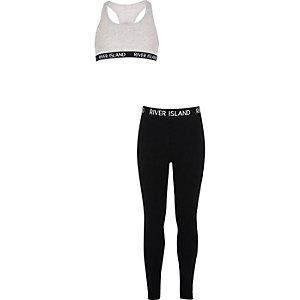 Outfit met grijze racer crop top en legging voor meisjes