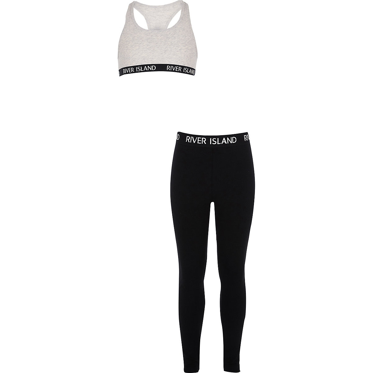 Girls grey racer crop and leggings outfit