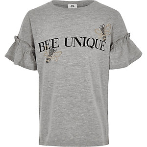 Girls grey 'Bee unique' T-shirt