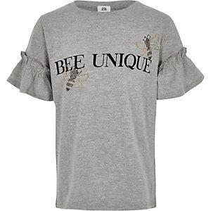 Grijs T-shirt met 'Bee unique'-print voor meisjes