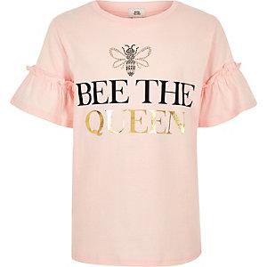 Roze T-shirt met 'Bee the queen'-print voor meisjes