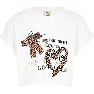Girls white leopard print bow T-shirt