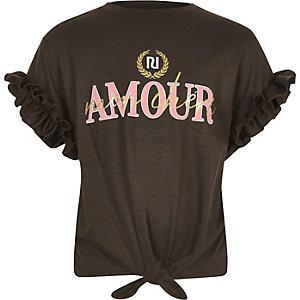 T-shirt «Amour» marron noué sur le devant pour fille