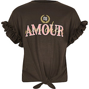Bruin T-shirt met 'Amour'-print en strik voor meisjes