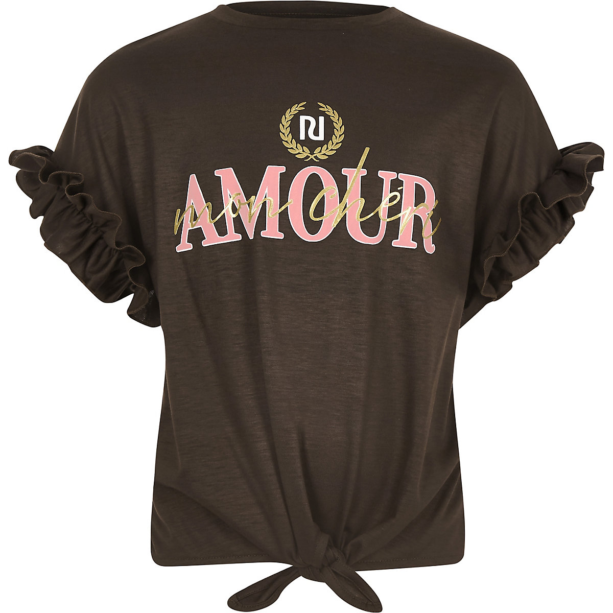 Girls brown 'Amour' tie front T-shirt