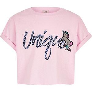 Roze T-shirt met 'Unique'- en eenhoornprint voor meisjes