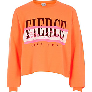 Sweat « Fierce » orange fluo pour fille