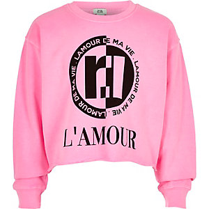 Girls neon pink 'L'amour' sweatshirt