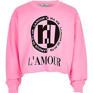 Sweat «L'amour» rose fluo pour fille