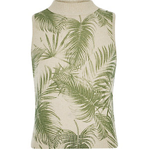 Girls cream palm print knitted tank top