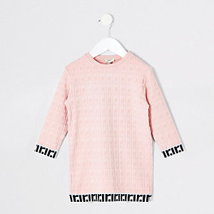 Mini girls pink jacquard T-shirt dress