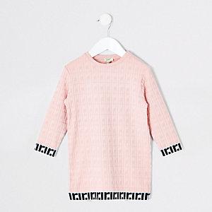 Mini - Roze jacquard T-shirtjurk voor meisjes