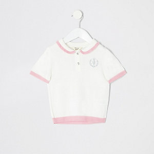 Mini girls cream polo shirt