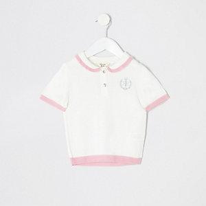 Mini girls cream polo shirt