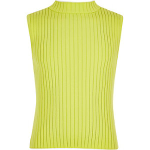 Girls lime ribbed tank top