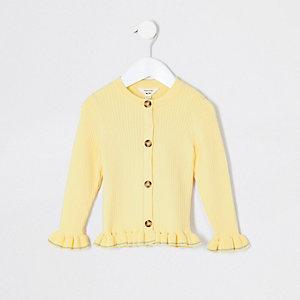 Mini girls yellow ribbed frill hem cardigan