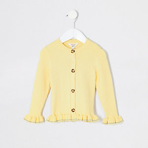 Cardigan côtelé jaune à volants mini fille