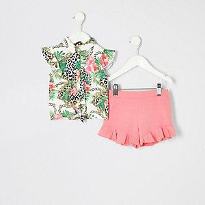 Mini - Koraalrode overhemdoutfit met print voor meisjes