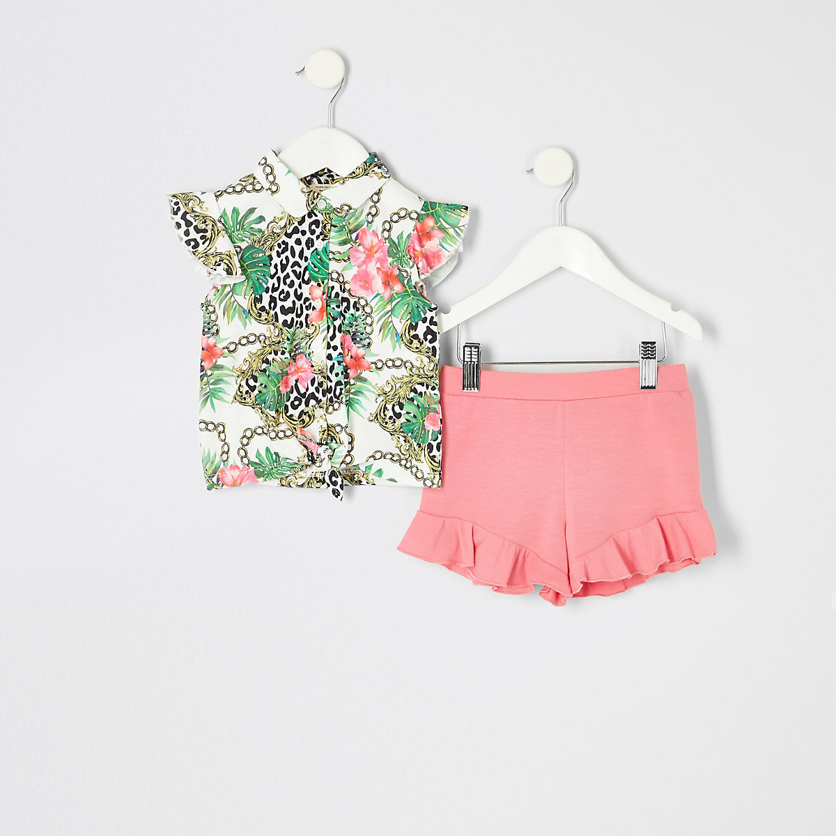 Mini girls coral printed shirt outfit